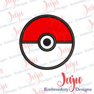 Pokeball Applique Embroidery Design