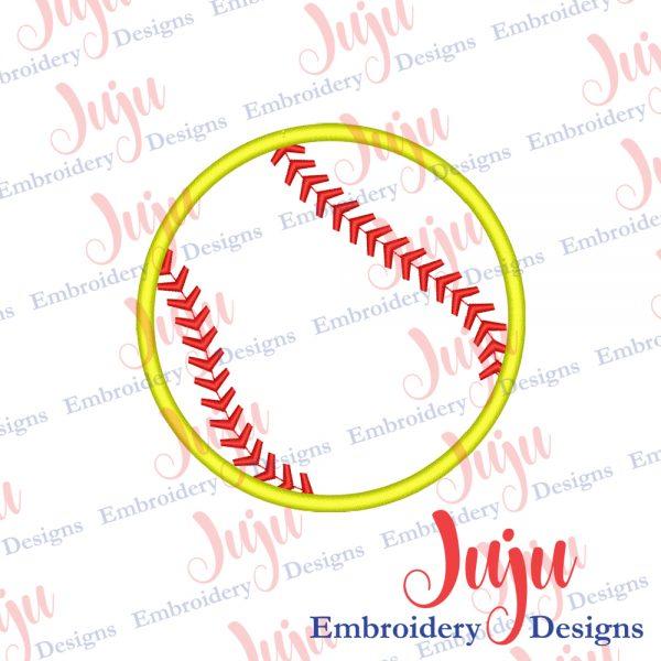 Softball Applique Embroidery Design